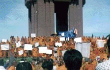 Monks demonstrating in 1998